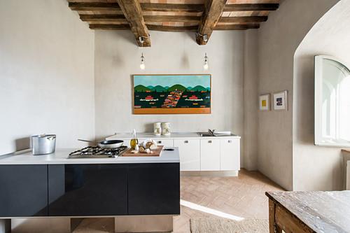 Küche in renoviertem Schloss