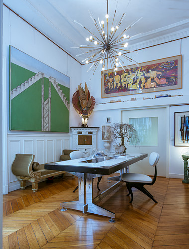 Eclectic dining room in artist's apartment