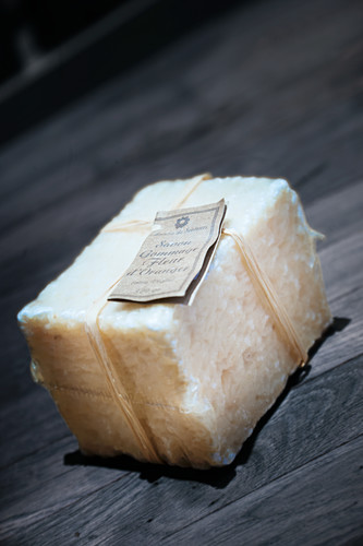 Bar of curd soap with label