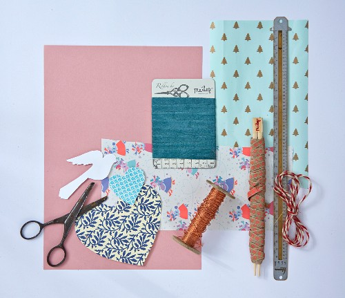 Craft materials for making paper Christmas decorations