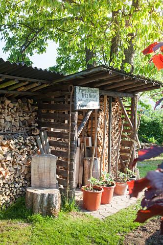 Gestapeltes Brennholz am Gartenschuppen