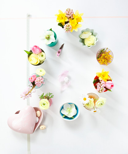 Easter arrangement of flowers on table