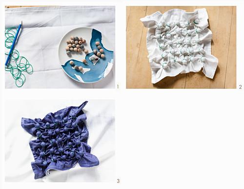 Kissenbezug mit Shibori-Technik färben, hier: Stoff falten, die Kreuze mit Holzperlen markieren