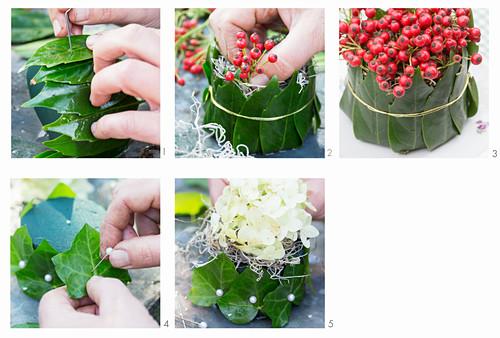 Tischdeko aus roten Beeren, Hortensienblüten, Blättern und Steckmasse basteln