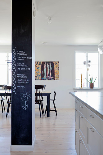 Column painted with chalkboard paint in front of dining table and black chairs