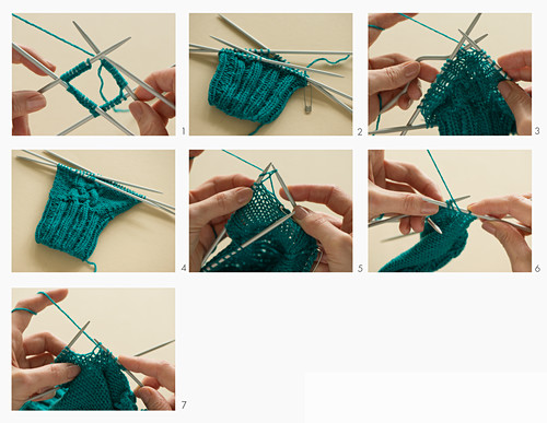 Gloves being knitted