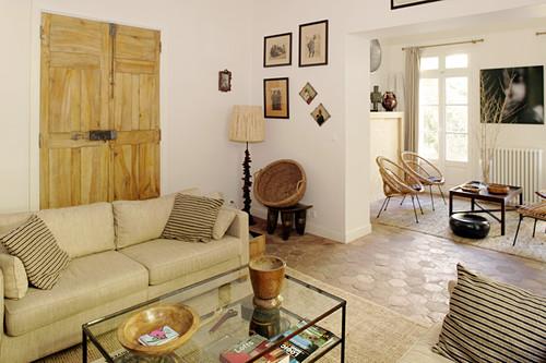 Open-plan Mediterranean living room in beige