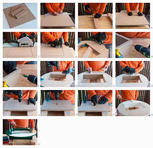 Wie man eine Tischplatte für einen Stehtisch aus Bierkisten baut