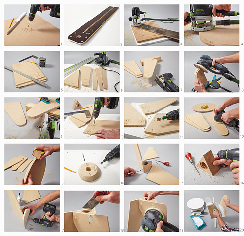 Instructions for making a three-legged stool with threaded rod