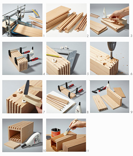 Instructions for making wooden organiser and knife block