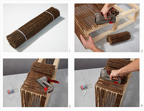 Instructions for making a coffee table from wood and wicker mats