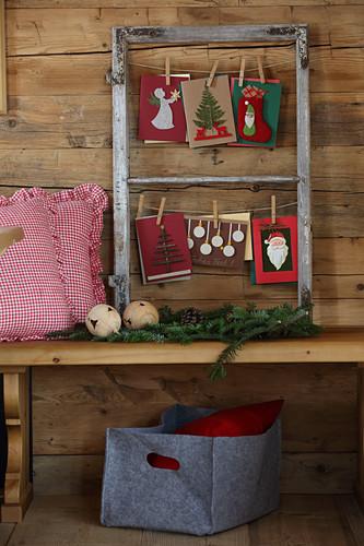 DIY-Weihnachtskarten an Wäscheleine