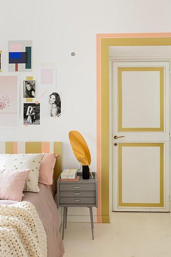 Door and doorframe decorated with washi tape in bedroom