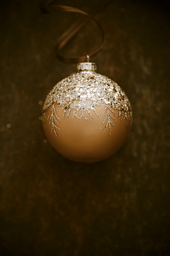 Christmas bauble against dark background