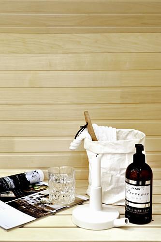 Utensils on sauna bench