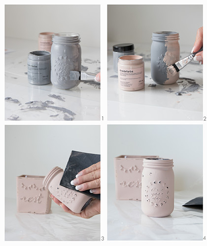 Painting jars with chalk paint for use as planters