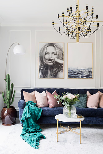 Dark Blue Sofa With Scatter Cushions Buy Image 12473814 Living4media