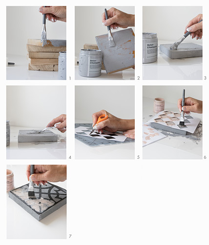 Instructions for making concrete-effect tiles with stencilled patterns