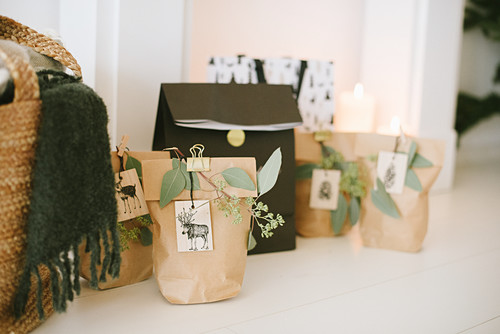 Festive brown gift bags