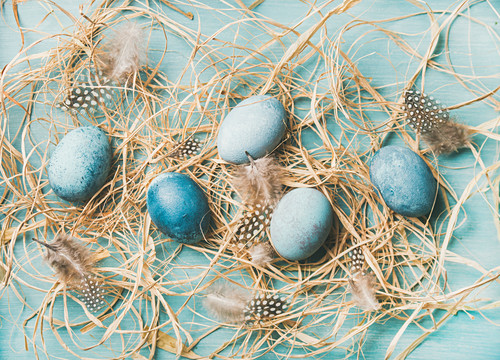 Blue-painted Easter eggs in hay and feathers (top view)