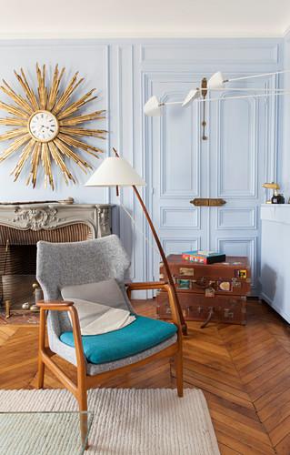 Vintage designer furniture in living room of Parisian period building