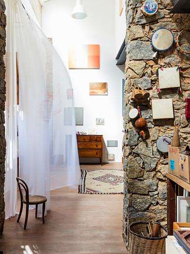 Stone wall in Mediterranean artist's apartment