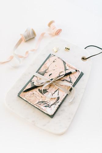 Handmade greetings cards marbled with nail polish