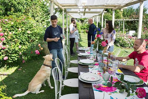 Gäste beim Mittagessen im Rosengarten