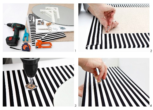 Making a black and white striped wall panel with a mirror