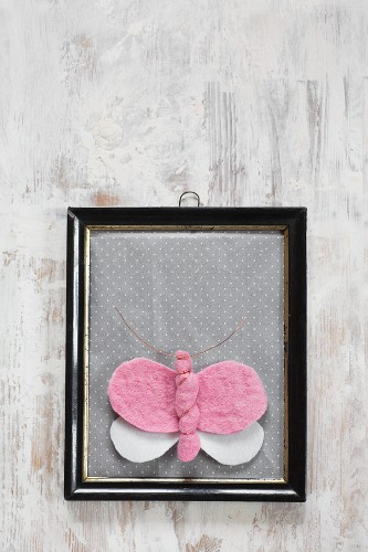 Hand-made felt butterfly in vintage picture frame