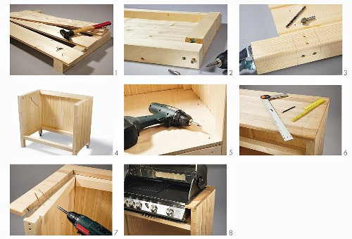 Instructions for building an outdoor kitchen cupboard from tongue and groove boards