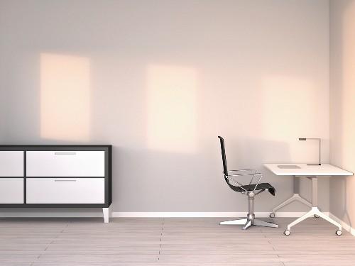 Empty modern office at twilight; 3D rendering