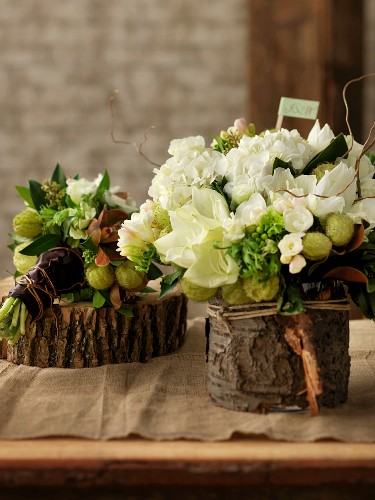 White and green flower arrangements on slices of tree trunks