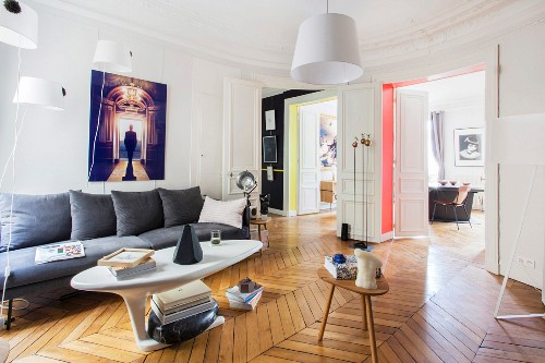 Retro living room in renovated period apartment
