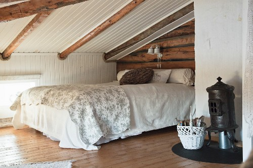 Wood Beaming Sloping Ceiling And Small