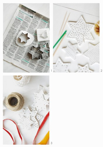 Instructions for making star ornaments from modelling compound