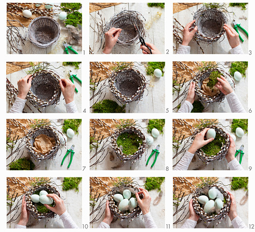 Instructions for making a pussy willow Easter nest