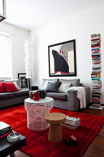 Grey Couch Tower Bookcase And Red