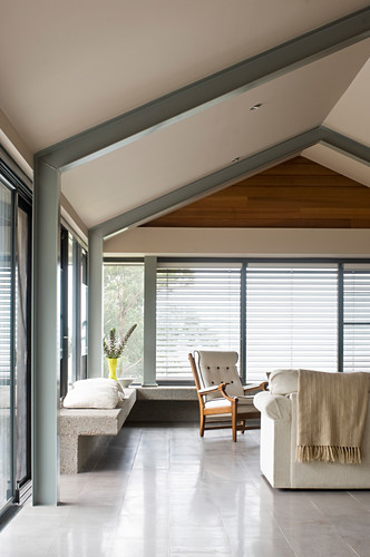 Simple Living Room Below Gable Roof With Buy Image 12999060 Living4media