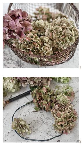 Making a hydrangea wreath