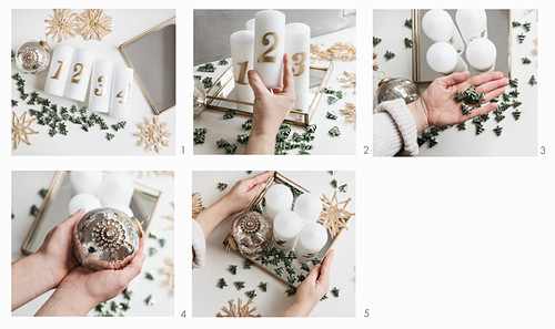 Instructions for making Advent arrangement of candles, bauble, scattered decorations and straw stars