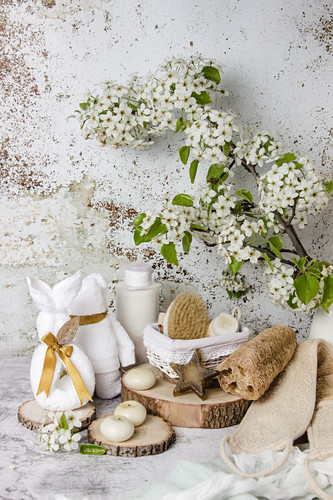 Bathroom accessories under flowering tree branch