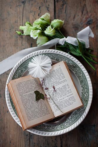 Aufgeschlagenes Buch mit Efeublatt und Papierrosette