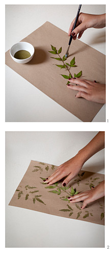 Hand-printed wrapping paper