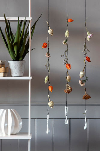 Mobile made from dried flowers