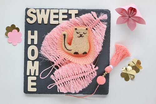 Cat-shaped biscuit on pink feather made from string
