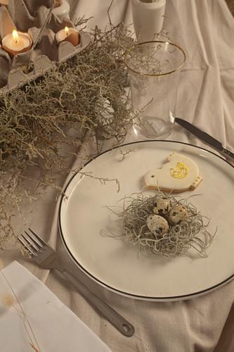 Teller mit Plätzchen und Wachteleiern im Nest auf dem Ostertisch