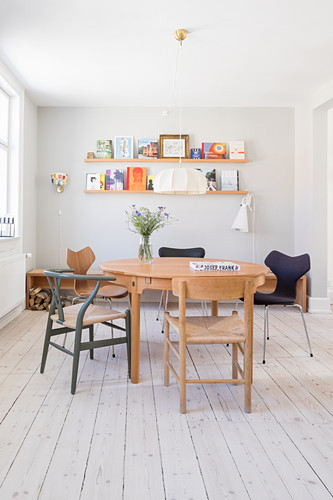 Bright dining room in retro Scandinavian style