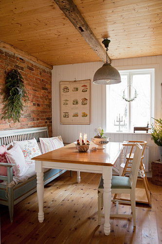 Country-house dining room with Christmas decorations