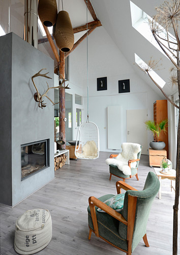 Double-height living room in shades of grey